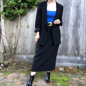 MaxMara 2 piece black wool blazer skirt set sz 14